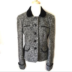 Loft | Tweed Velvet Career Blazer Jacket Size 6